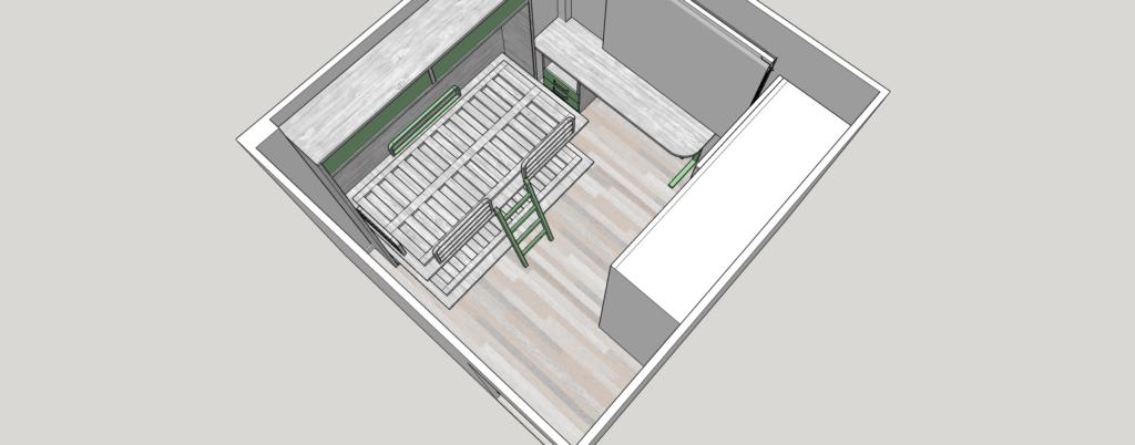 Diseño 3d Habitacion Juvenil con literas abatibles