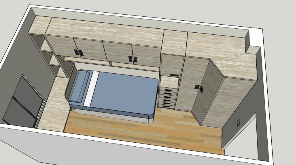 Diseño 3D de Habitacion Juvenil con puente y armario a medida Muebles Trimobel Getafe