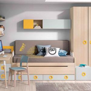 Dormitorio Juvenil cama extraible Muebles Trimobel Getafe S01Styles