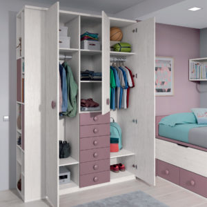 Habitación Juvenil Formas 004 con armario de gran capacidad y escritorio