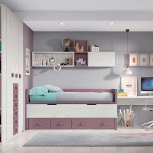 Habitación Juvenil Formas 004 con armario de gran capacidad