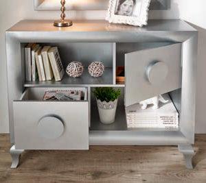 Recibidor Vintage moderno Cloe en color gris plata Muebles Trimobel Getafe