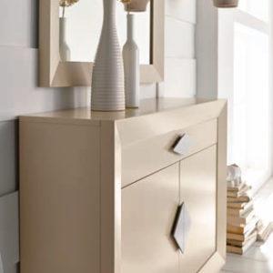 Recibidor con Espejo conjunto en color Capuchino Crema modelo Cloe 2002 Muebles Trimobel Getafe