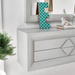 Recibidores modernos detalle en color plata con espejo Cloe 2005 Muebles Trimobel Getafe