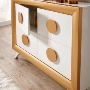 Recibidor con espejo estilo moderno en color blanco y oro Muebles Trimobel Getafe