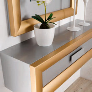 Recibidor con espejo color oro Cloe 2007 Muebles Trimobel Getafe