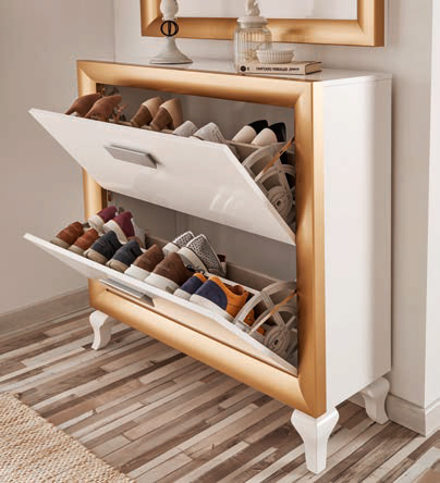 Recibidor zapatero con espejo en color blanco y oro. Muebles Trimobel Getafe