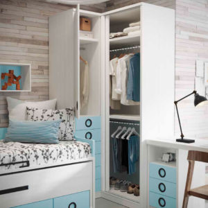 detalle armario habitacion juvenil original con cama nido Yaboni new Avant 04 Muebles Trimobel