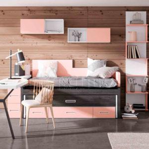 habitacion juvenil original Yaboni Avant 06 rosa y gris Muebles Trimobel