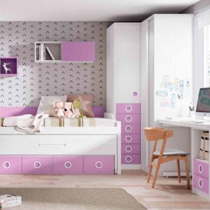 habitacion juvenil original Yaboni Avant 20 Malva y blanco madera Muebles Trimobel