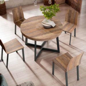 Mesa redonda extensible estilo industrial 2822 Muebles Trimobel Getafe