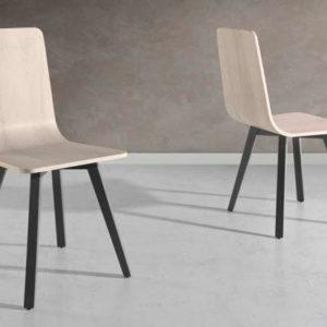 silla estilo industrial madera patas metalicas mod 108 Muebles Trimobel Getafe