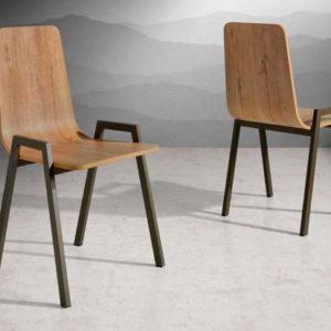 silla moderna de madera con patas metalicas mod 204 Muebles Trimobel Getafe