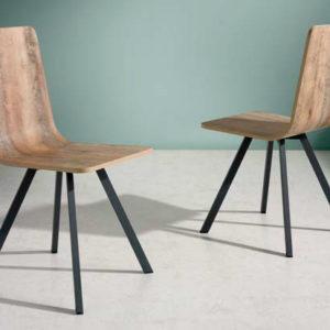 silla industrial de madera patas metálicas mod 208 Muebles Trimobel Getafe