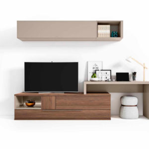 Salón con escritorio modular moderno Cubica 028. Muebles Trimobel Getafe
