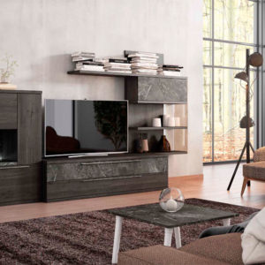 Salón Modular estilo moderno modelo Cubica 06 color oscuro Muebles Trimobel Getafe Madrid