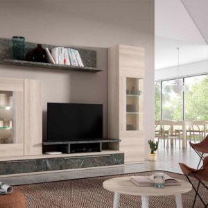 Salón modular moderno con vitrina moderna Cubica 013. Muebles Trimobel Getafe