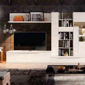 Salón modular moderno con librería Cubica 019. Muebles Trimobel Getafe