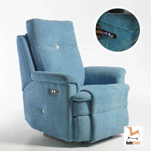 Sillón Relax con USB modelo Botón. Reclinable y giratorio. Muebles Trimobel Getafe