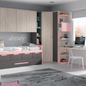 Habitacion Juvenil Formas 028 rosa y gris Muebles Trimobel Getafe