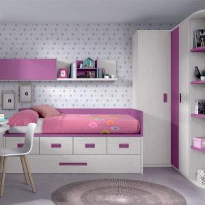 Habitacion Juvenil Formas 032 rosa y blanco Muebles Trimobel Getafe