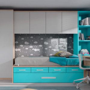 Habitacion Juvenil Formas 033 azul y blanco Muebles Trimobel Getafe