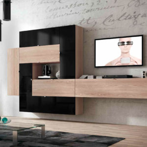 Mueble Salón moderno 07 Best Canoil negro brillo con madera Muebles Trimobel Getafe