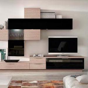 Mueble Salón moderno 13 Best Canoil negro brillo con madera Muebles Trimobel Getafe