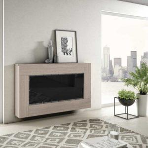 Mueble Salón moderno 13 Best Canoil detalle de cubreradiador en negro brillo con madera Muebles Trimobel Getafe
