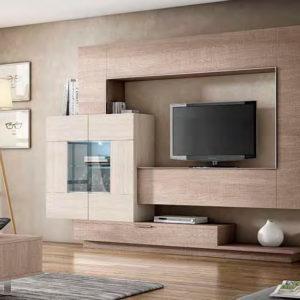 Mueble Salón moderno Best 21 Canoil contraste de maderas Muebles Trimobel Getafe