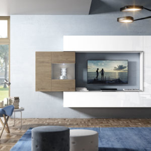 Mueble Salón moderno 30 Best Canoil blanco brillo con madera Muebles Trimobel Getafe