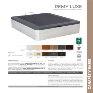 Canape de madera y tapa 3D Remy Luxe Korflex Muebles Trimobel Caracteristicas tecnicas