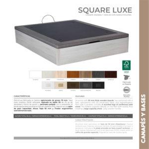 Canape de madera y tapa 3D Square Luxe Korflex Muebles Trimobel Caracteristicas tecnicas